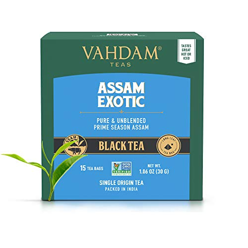 VAHDAM, Assam Schwarzer Tee (30 Tea Bags) - Long Leaf Assam Teebeutel - RICH & MALTY - Frühstücksteebeutel, Grad FTGFOP1, Assam Tee Loose Leaf - 15 Pyramiden-Teebeutel (2-er Set)