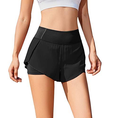 iMixCity Pantalones Cortos de Gimnasia para Mujer 2 en 1 Doble Capa Banda de Cintura elástica Running Yoga Short con Bolsillo (Negro, X-Large)