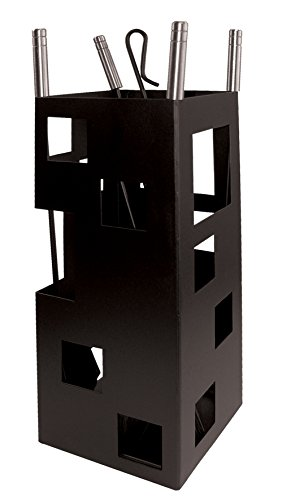 Imex El Zorro 10098 Juego para chimenea, cuadrado (inox, 50 x 20 x 20 cm) útiles color negro