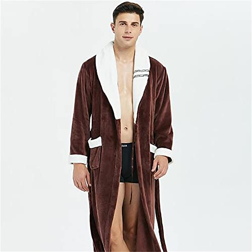 Albornoz Kimono Informal para Hombre, Bata Larga de Franela de Otoño Invierno, Ropa de Dormir Gruesa y cálida, camisón de Talla Grande 3XL para Hombre, Ropa Holgada para el hogar-a71-XL