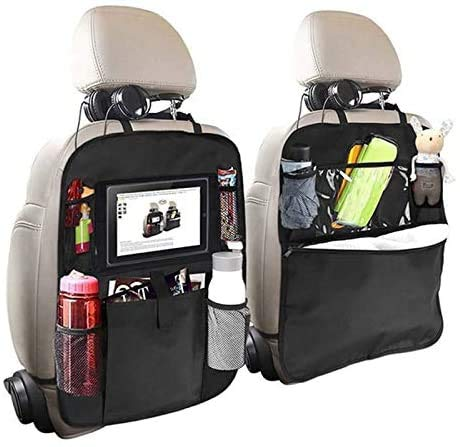 Car Seat Organiser for kids, Car Organisers,Car Seatback Protector with 10inch Tablet Holder,Backseat Kick Mats Cover with 8 Storage Pockets,Car Accessories for Family Road Trip (2pack)