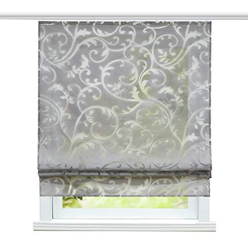 ESLIR Raffrollo mit Klettband Wohnzimmer Raffgardine Ausbrenner Gardinen Modern Bändchenrollo Vorhänge Grau BxH 60x140cm 1 Stück