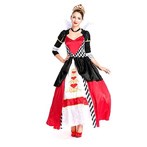 hhalibaba Poker Queen Disfraz Mujer Cosplay Halloween Vestido Largo Sexy Mujer Princesa Ropa Reina de Corazones Disfraz Fiesta Juego de Roles