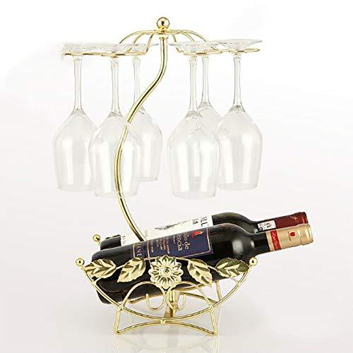 Estante para Vinos, Soporte para Copas De Vino para El Hogar Al Revés, Artesanía En Hierro, Adecuado para Muebles para El Hogar, Instalaciones para Salas De Estar Y Botellas De Vino,Gold