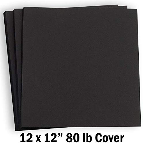 Hamilco Black Colored Cardstock Scrapbook Paper 12x12 Heavy Weight 80 lb Cover Card Stock - for Craft Calligraphy or Chalkboard Papers for Printer - 50 Pack