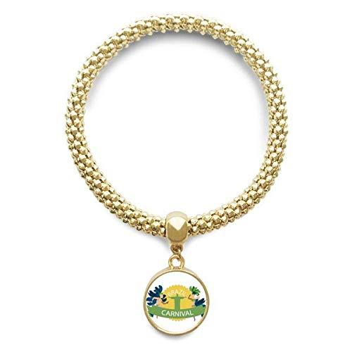 DIYthinker Womens Mount Corcovado Hula Brazilië Carnaval gouden armband ronde hanger sieraden ketting