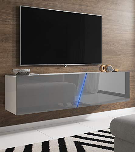 Space TV-Unterteil hängend oder stehend Lowboard inkl. RGB Beleuchtung 160 x 35 cm - Hochglanz grau/Weiß Dekor