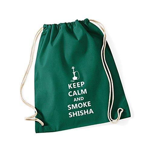 Baumwoll Turnbeutel mit Spruch Motiv Keep Calm and Smoke Shisha Hipster Sport Jute Tasche Gym Bag Bottle Green (Druck weiß)
