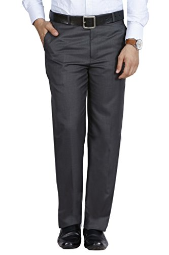 McHenry Men's Solid Formal Regular Fit PolyViscose Grey Trousers(Grey4004-34_Grey_Size:34)
