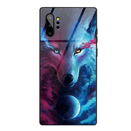 Yoedge Samsung Galaxy Note 10 Pro Funda, Carcasa con Dibujos Animados Diseño [Bordes en Suave TPU Silicona] Híbrida Tempered Vidrio Case para Galaxy Note 10 Pro/Note 10 Plus, Lobo