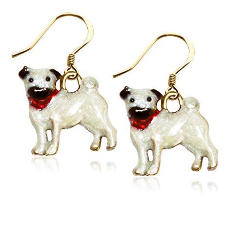 Pug Dog Charm Earrings in Gold (Pug, Gold)