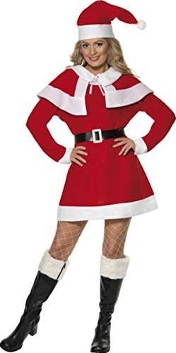 SMIFFYS Miss Santa Fleece Costume Christmas Fancy Dress Party Womens Completo