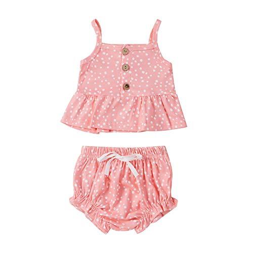 Baby Sling Button Vest Set Ärmelloses Rüschen Polka Dot Bedrucktes Top + Shorts Set Gr. 74, 3-pink