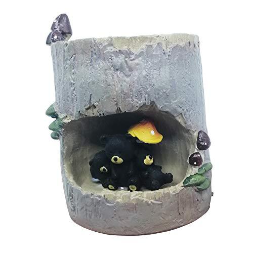 EMiEN Resin Cute Small Succulent Pots with Drainage,Mini Pots for Plants,Succulent Planters,Bonsai Pots,Air Plant Flower Pots Cactus Faux Plants Containers,Animal Planter (Black Bear Tree Hole)