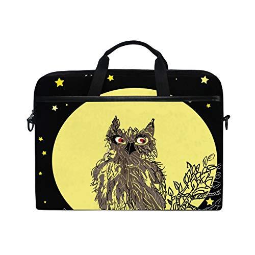 FOURFOOL 15-15.6 inch Laptop Bag,Owl Sitting On Tree Brunches Against,New Canvas Print Pattern Briefcase Laptop Shoulder Messenger Handbag Case Sleeve