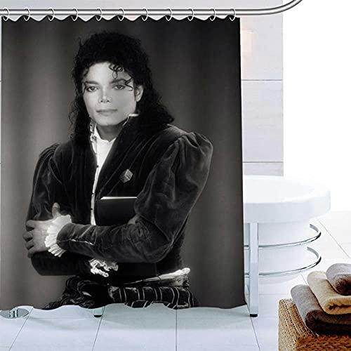 None brand Polyestergewebe benutzerdefinierte Michael Jackson-Duschvorhang moderner Badezimmervorhang wasserdicht mit Hakenbadvorhang-W90xh180 cm.