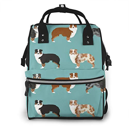Border Collies Funny Dogs Baby Diaper Bag Backpack,Multi-Function Waterproof Large Capacity Travel Nappy Bags For Mom