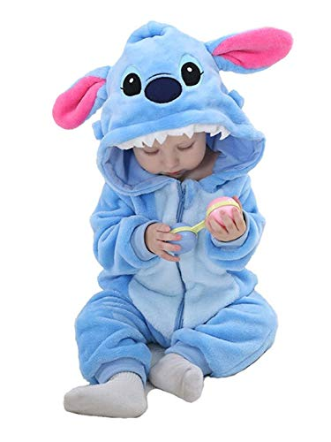 OSEPE Unisex-baby Flannel Romper Animal Onesie Pajamas, Stitch, Size Size70