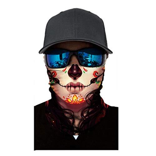 Multifunktionstuch Herren & Damen - Atmungsaktiv & Schnelltrocknend - Wind Face Shield - Motorrad Gesicht Mundschutz Lustig Skull Maske Chopper Mund-Tuch Halsschlauch Halstuch mit Motiv
