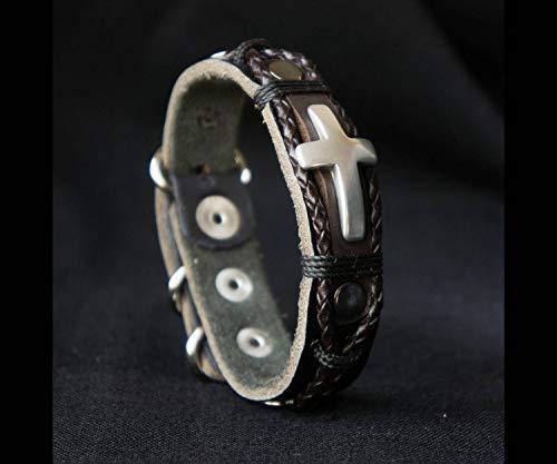 Rustic Leather Cross Bracelet 3