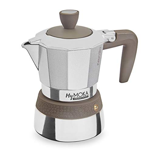 Pedrini Caffettiera MyMoka induction, 3 tazze, Tortora