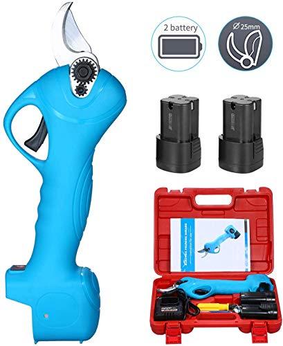 cilyberya 25 mm Akku-Gartenschere Tragbare elektrische Gartenschere Hand hält Astschere Licht Hausgartenschere Beinhaltet 2 Pufferbatterien