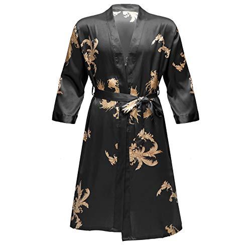 inlzdz Herren Satin Dragon Nachthemd+Shorts Langarm Kimono Bademantel Badeshorts Schlafkleid mit Gürtel Zweiteilige Nachtwäsche Schwarz M