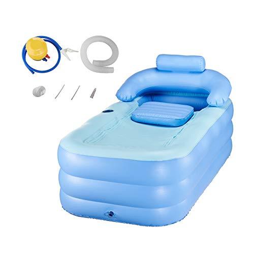 CO-Z Vasca da Bagno Gonfiabile per Adulti Piscina per Bambini Massaggio Spa Letto Pieghevole per Bagno  Giardino (Blu)