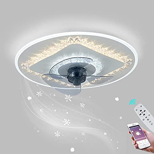 Ventilador de Techo Silencioso LED Lámpara de Techo Ventilador Luz con Mando a Distancia Regulable Plafon de Techo para Dormitorio Salón, Ventilador de Iluminación con Temporizador Ø45CM