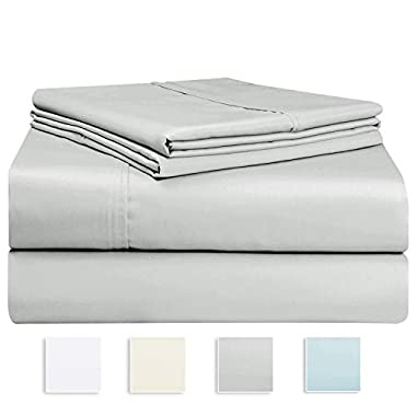 Pizuna 1000 Thread Count Sheet Set, 100% Long Staple Pure Cotton Silver Queen Sheets, Luxurious Smooth Sateen Weave Breathable Sheets fit Upto 16  Deep Pockets (Light Grey Queen 100% Cotton Sheets)