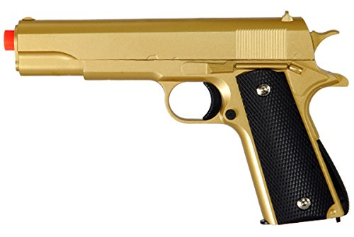 M1911 Replica Full Metal Two Tone Gold & Black Airsoft Spring Pistol 6MM BB Gun