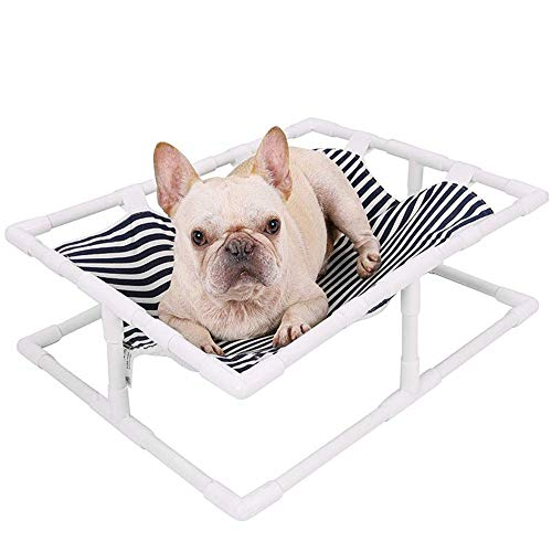 Pet Hammock Bed Striped Cat Dog Winter and Summer Cute Bed Soft Sleeping Mattress Moisture-Proof Comfortable Simple Installation Available On Both Sides(Black and White Stripes)