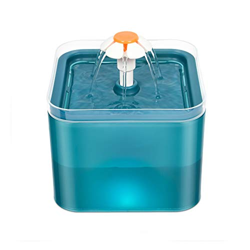 EASONGEE Fuente de Agua para Gatos,Fuente para Beber para Perros,Transparente Luces LED Automática con Bomba Ultra Silenciosa 2L