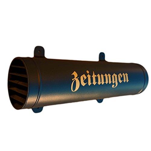 Zeitungsrolle in Schwarz / Matt mit Verschlussgitter aus stabilem Metall Zeitungsbox Zeitungsfach