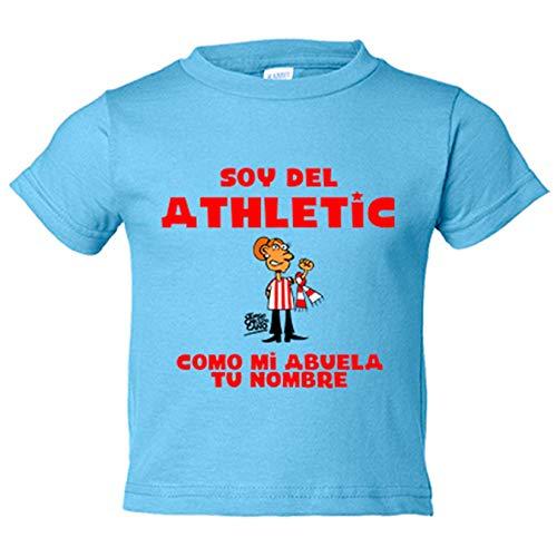 Camiseta niño soy del Athletic de Bilbao como mi abuela personalizable con nombre - Celeste, 12-18 meses
