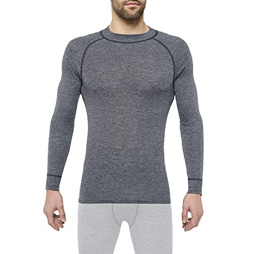 Thermowave Warm Active Merino Unterwäsche Herren mit Rundhalsausschnitt - Thermounterwäsche Herren - Merino Shirt Herren mit Feuchtigkeitstransport - 160 GSM Schnelltrocknende für hohe Intensität