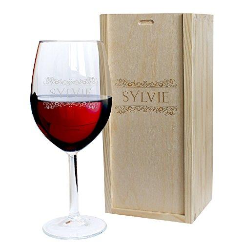 Calice da vino e cassetta personalizzati con nome - modello fregio