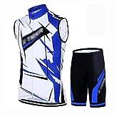 YXX Windproof & Reflective Men's Cycling Vest Bicycle Riding Gilet Ciclistas Hombre+Pantalon Transpirable,Azul,M