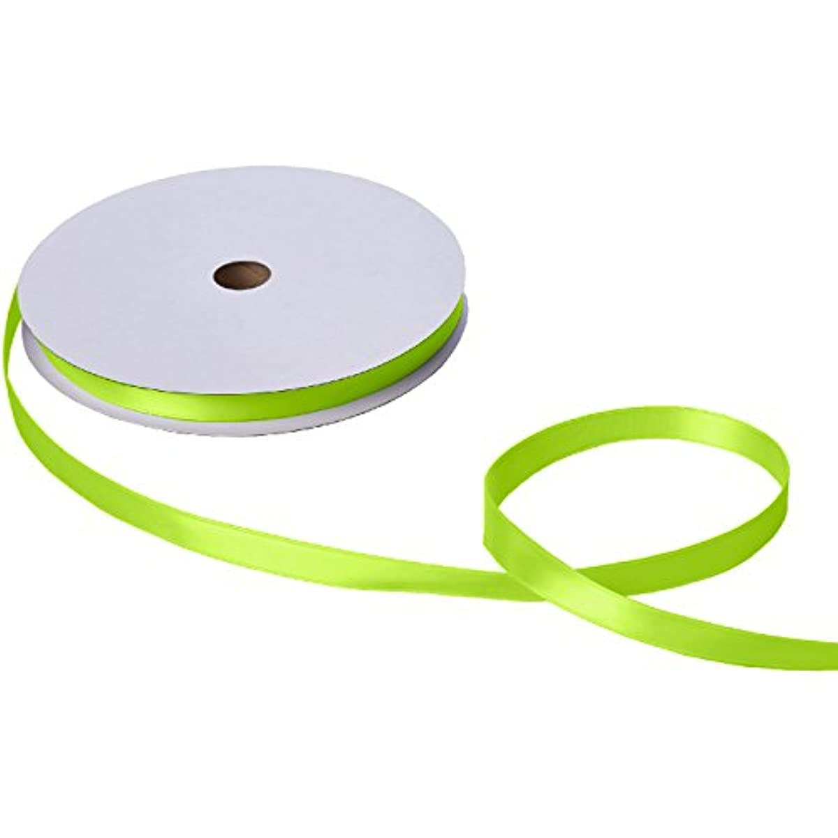 Jillson Roberts Bulk 5/8-Inch Double Faced Satin Ribbon Available in 21 Colors, Lime Green, 100 Yard Spool (BFR0941)