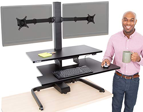 Stand Steady Techtonic | Electric 2 Arm Monitor Mount Standing Desk | Stand Up Desk Converter with Keyboard Tray Supports 2 Screens | Easy & Quiet Sit to Stand with The Push of a Button! (Black)
