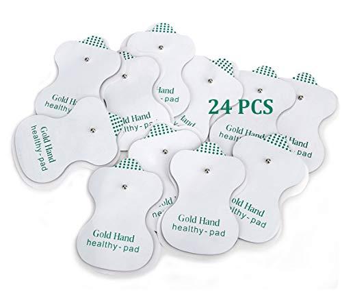 Gold Hand 24 Elettrodi per Elettrostimolatore Tens EMS Clip, Auto-adesive, Riutilizzabili, 5cm x 8cm Gel...
