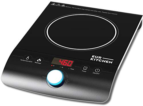EurKitchen Safe and Powerful Portable Induction Cooktop Burner w/Cloth Bag - 1800W - Quick-Adjust Precision Control Dial - 18 Temperature Settings - REQUIRES INDUCTION COOKWARE (NOT INCLUDED)