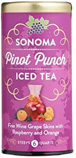 The Republic of Tea Sonoma Pinot Punch Iced Tea - Wine Alternative Made with Sonoma County Pinot Noir Grape Skins and Natural Fruit Flavors - Sweet Raspberries and Zesty Orange - 6 Count Large Tea