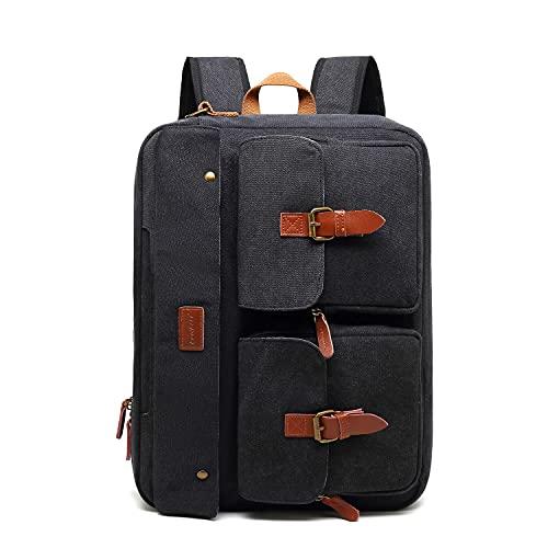iTopschy, zaino in tela per computer portatile da viaggio, stile vintage, portatile, da 17,3 pollici, impermeabile ad alta capacità, borsa per computer, colore nero