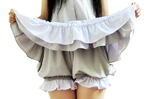 CRB Fashion Womens Lolita Maid Shorts Gothic Pants Bloomers (Gray White)