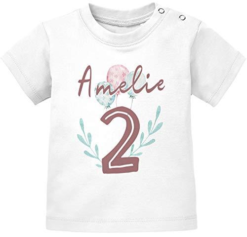 SpecialMe® personalisiertes Baby T-Shirt Name Zahl 1 Alter 2 Geburtstagsshirt Mädchen 2 weiß 92/98 (16-24-Monate)