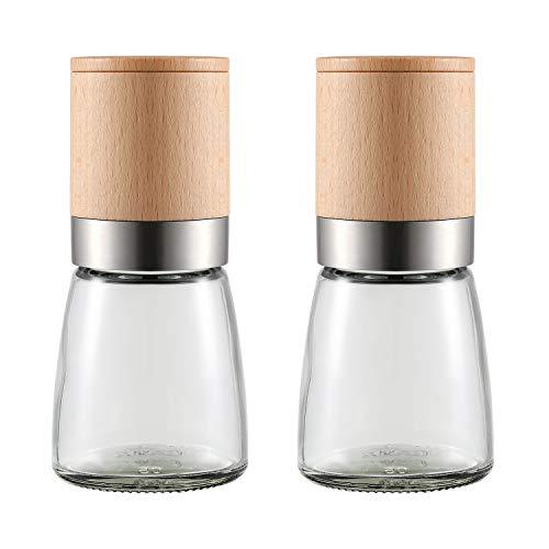 Set di 2 macina sale e pepe in legno con grossolanità regolabile in ceramica, macinapepe e pepe macinino per sale marino per cucina condimento sale e pepe