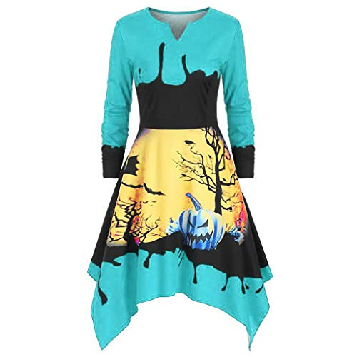 Reooly Falda de Halloween, Vestido de Borla Irregular de Manga Larga con Volantes a Cuadros de la Cintura a Cuadros de Gran tamaño Mujer