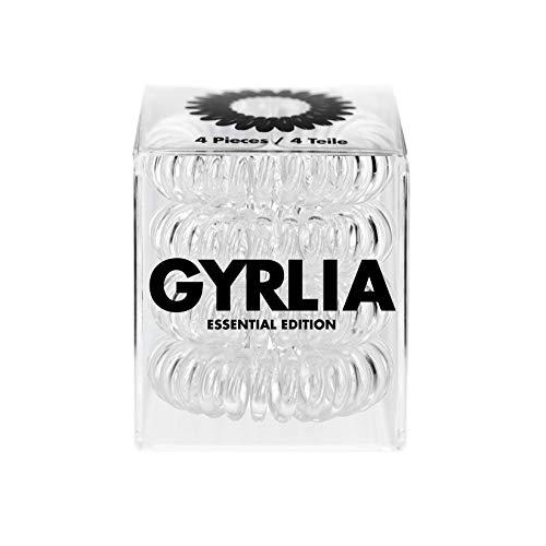 Gyrlia Spiral - Elastico per capelli Essential Edition (1 x 4 pezzi), materiale riciclato, trasparente, forte tenuta, delicato sui capelli