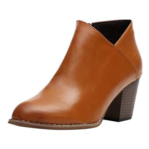 Inawayls Damen Stiefeletten mit hohen Absatz 7 cm Plateau Ankle Boots Kurz Stiefel High Heels Damen Schuhe mit Reißverschluss
